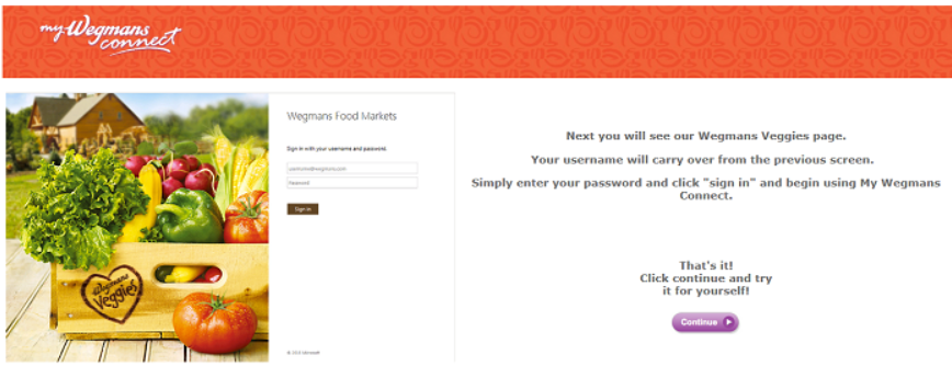 On Mywegmansconnect, the employee  ESS portal displaying to Enter User Name and Pass word to signin from your system or mobile